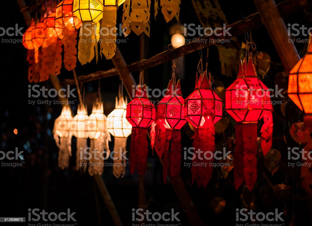 paper lantern in lanna style in Loy krathong day stock photo