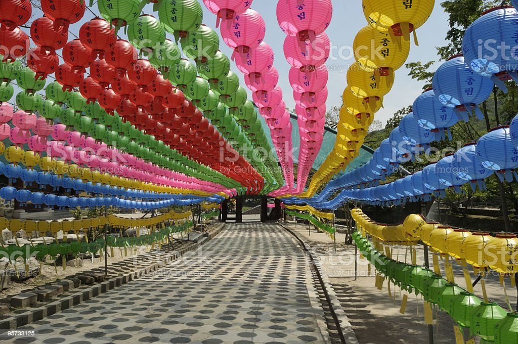 Paper lantern walkway at Tongdosa Temple Complex stock photo