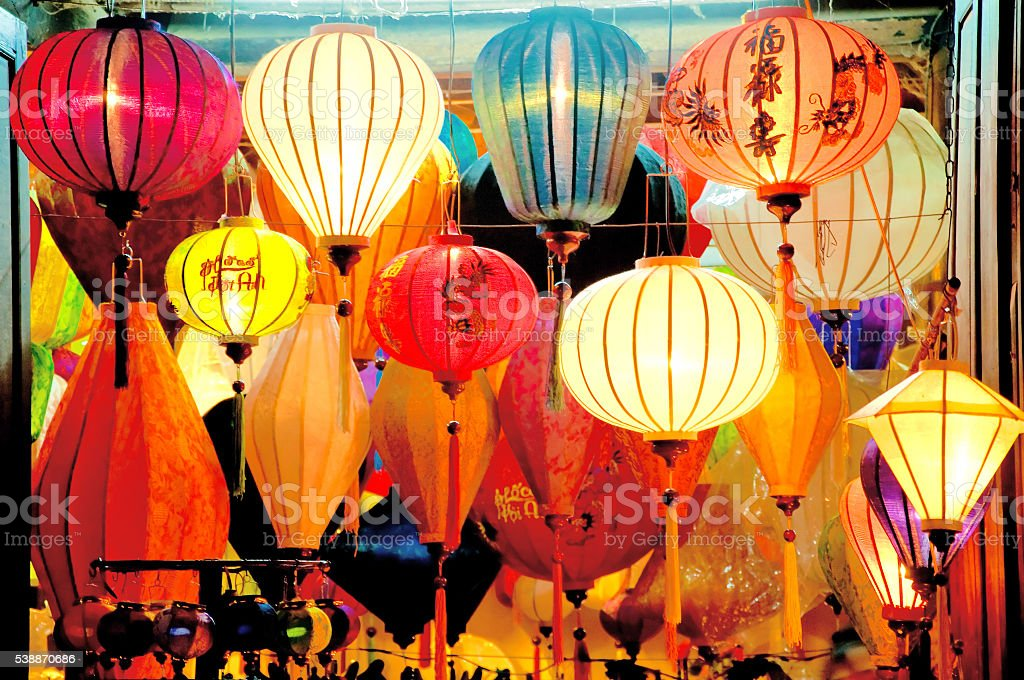 Paper lanterns on Hoi An ancient town, Vietnam stock photo