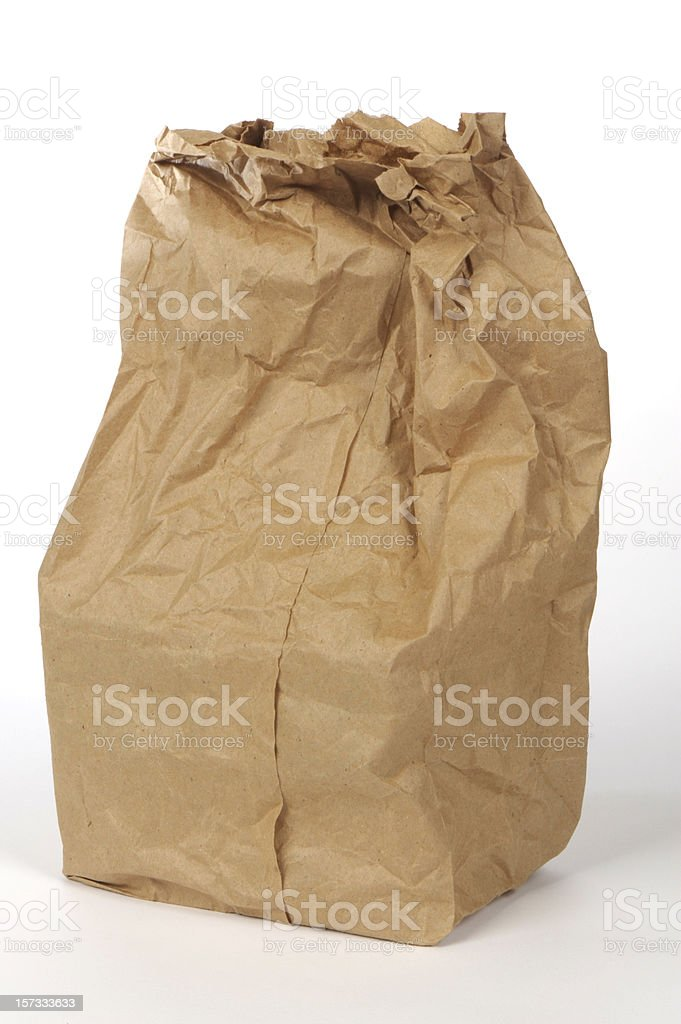 Paper lunch bag - Grunge royalty-free stock photo