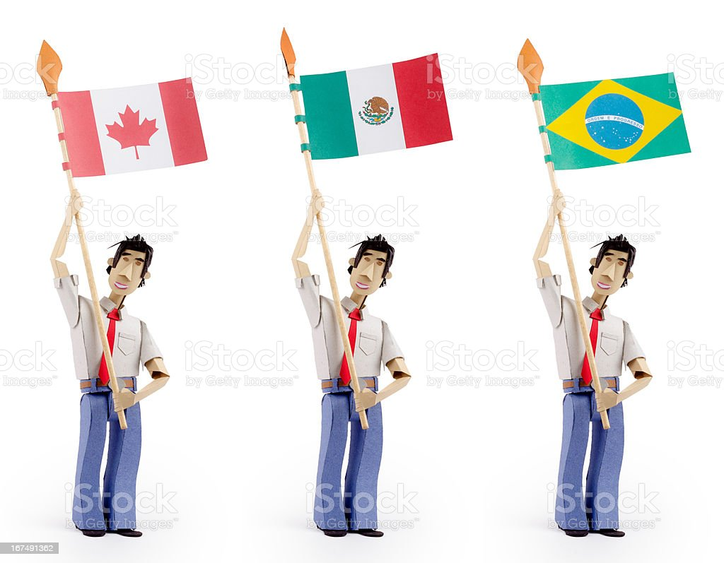 Paper man holding flags royalty-free stock photo