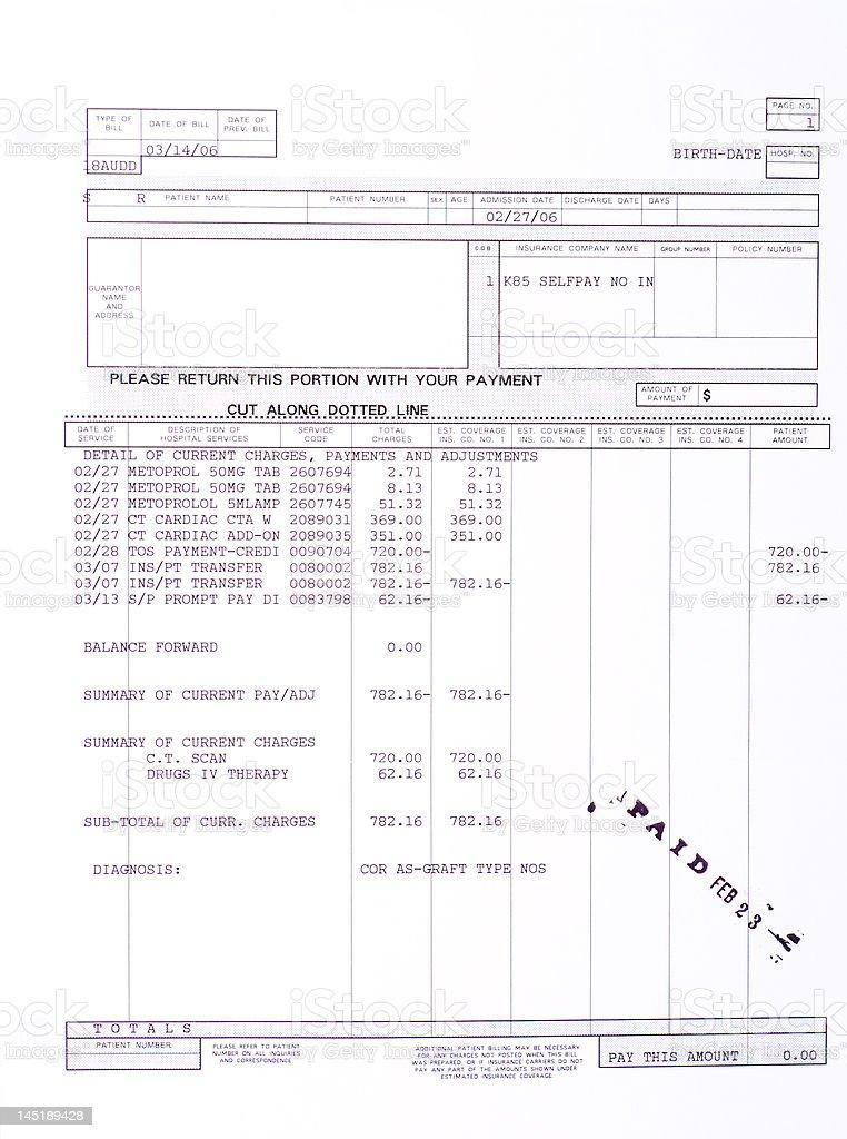 Paper Medical Bill Cardiac CT Scan Stamped