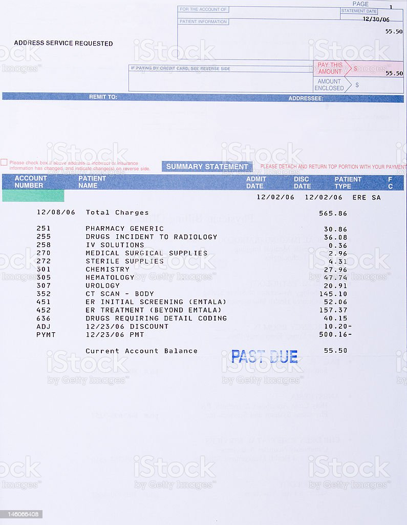 Paper Medical Bill CT Scan Marked
