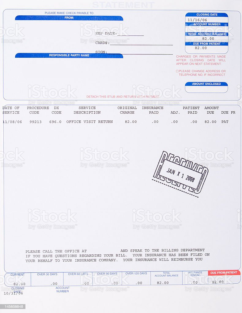 Paper Medical Bill Stamped Received with Date, Health Care stock photo