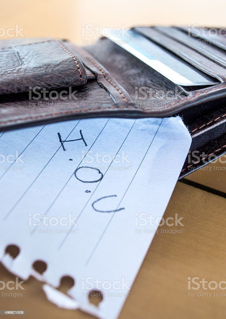 'I.O.U' Paper Message in a Leather Wallet Close Up stock photo