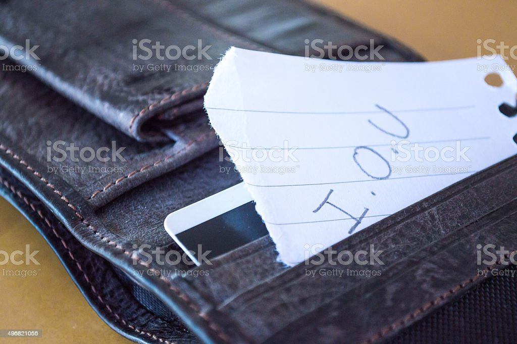 'I.O.U' Paper Message Inside a Leather Wallet Close Up stock photo