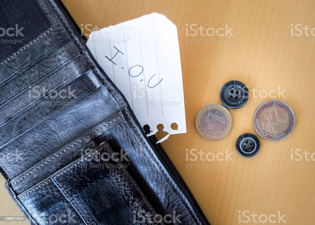 'I.O.U' Paper Message Inside a Wallet with Coins and Buttons royalty-free stock photo