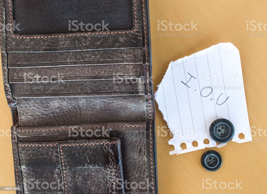 'I.O.U' Paper Message Next to Wallet with Buttons Overhead View royalty-free stock photo