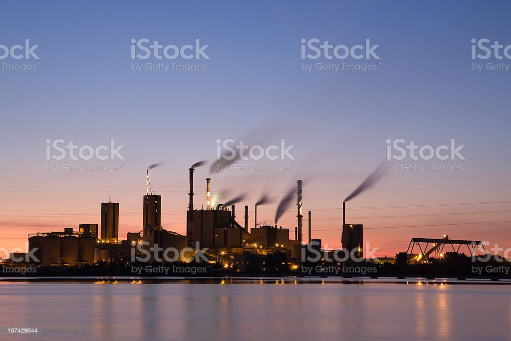 Paper Mill at Sunset stock photo