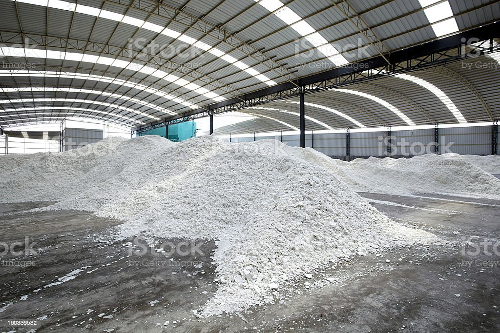 Paper mill's paper-making raw materials stock photo