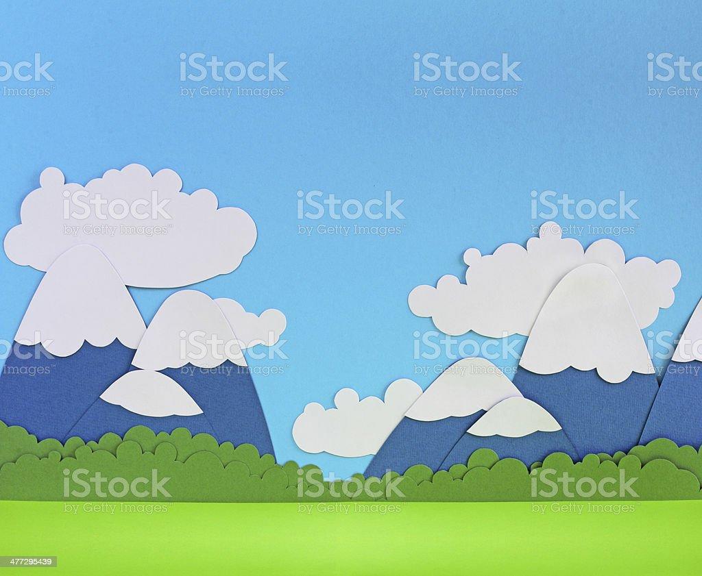 Paper mountain landscape stock photo