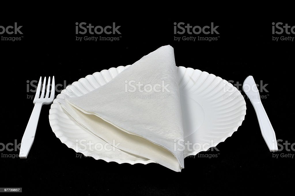Paper napkin on picnic plate stock photo