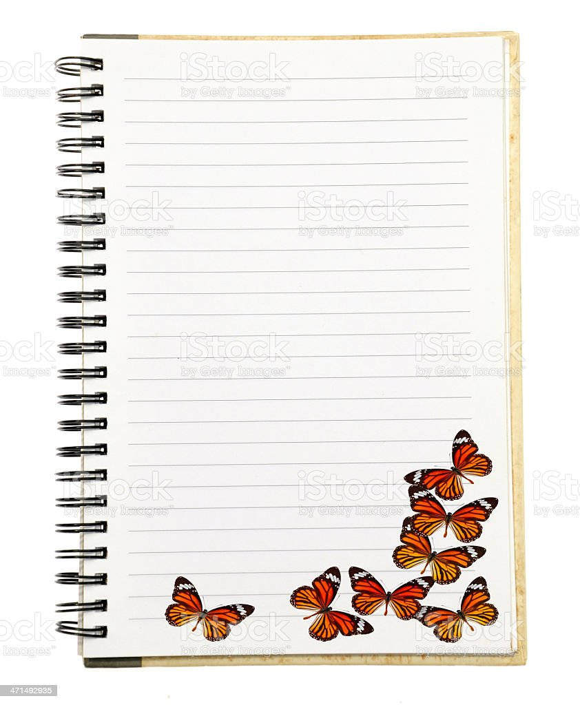 Paper Notebook with Butterfly royalty-free stock photo