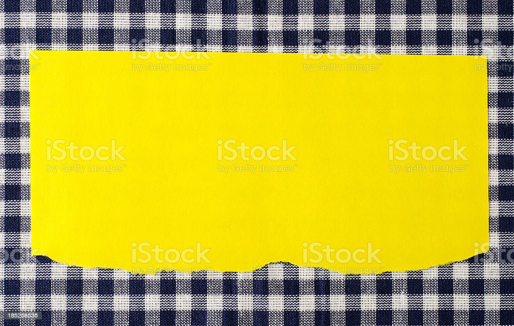 Paper on blue tablecloth royalty-free stock photo