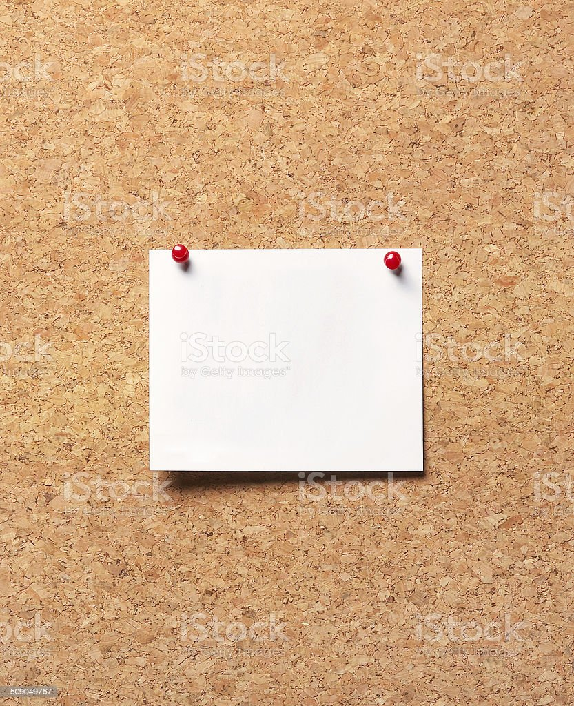 paper on the cork board stock photo