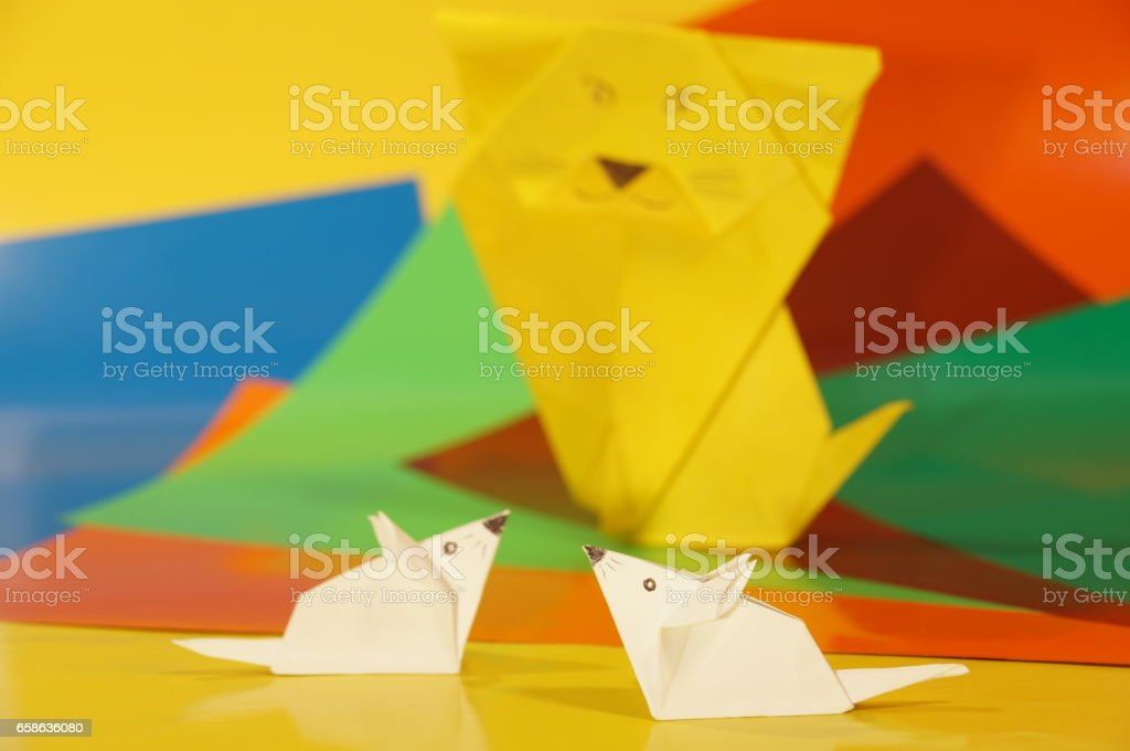 Paper origami cage isolated stock photo