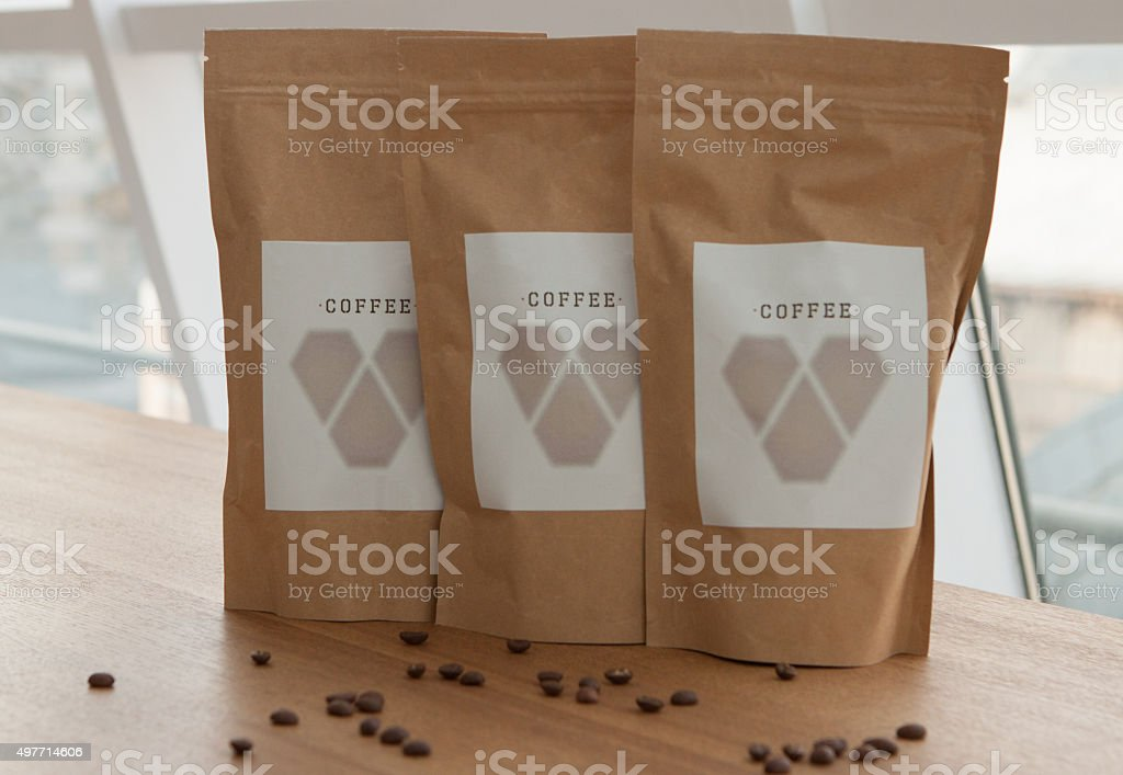 Paper packaging coffee bag stock photo