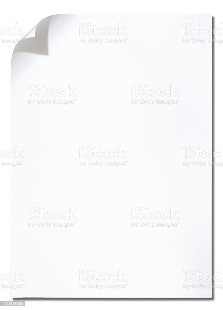 paper page corner curl stock photo