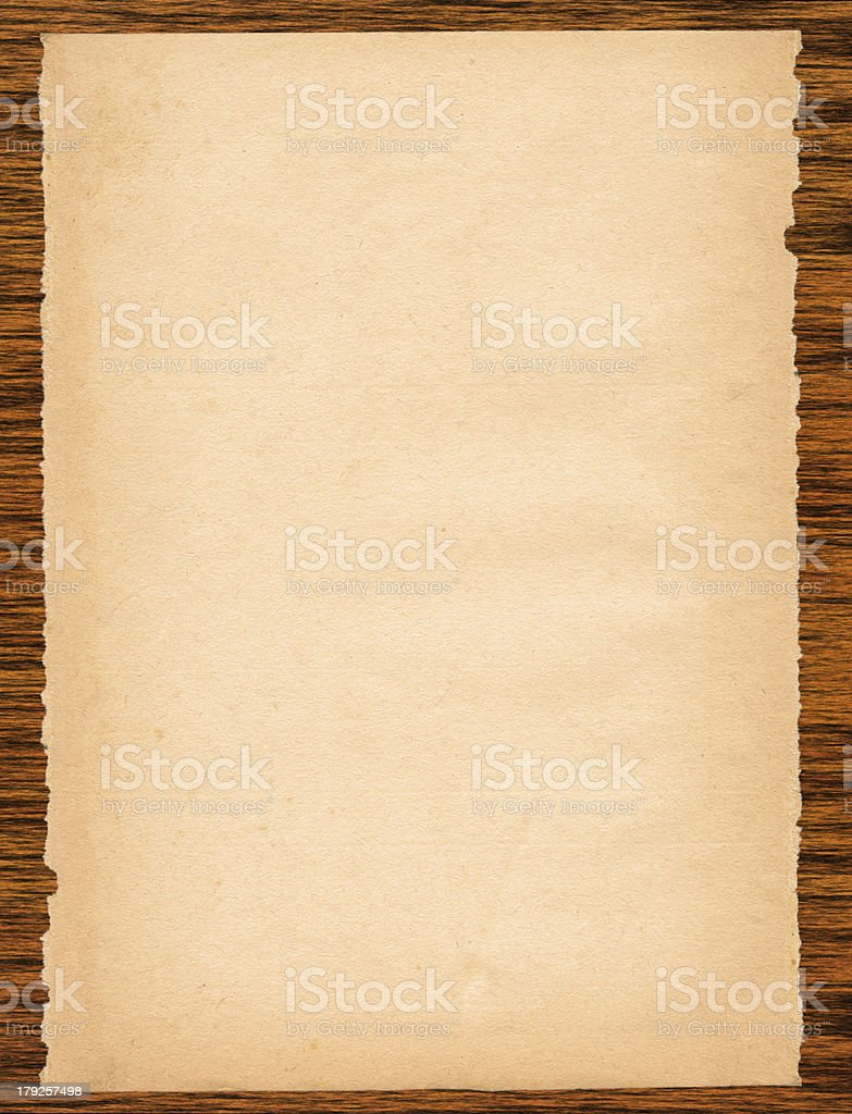 paper page on wood royalty-free stock photo