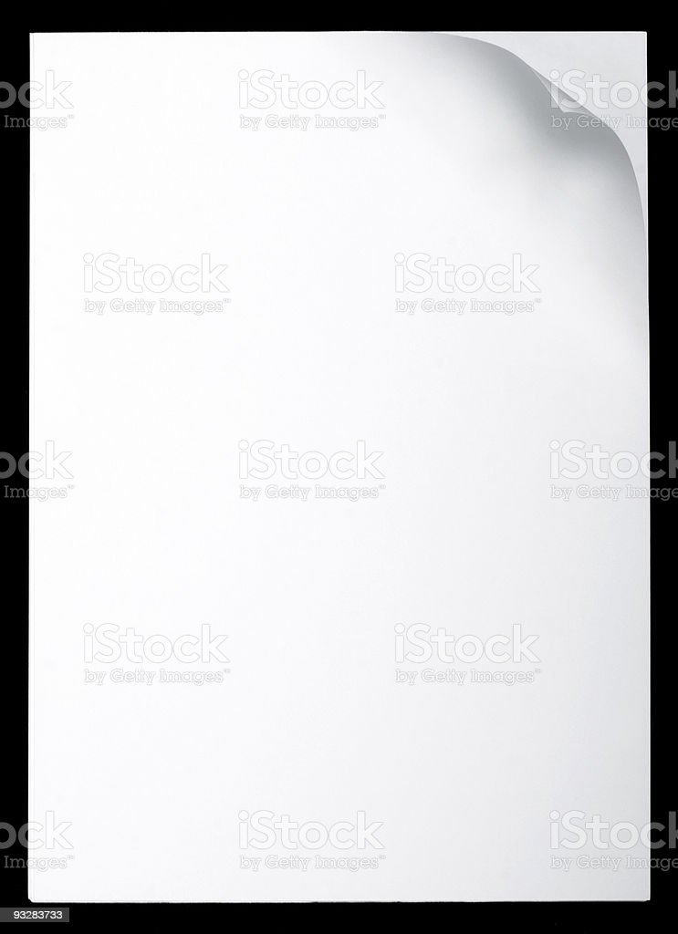 Paper page with curl stock photo