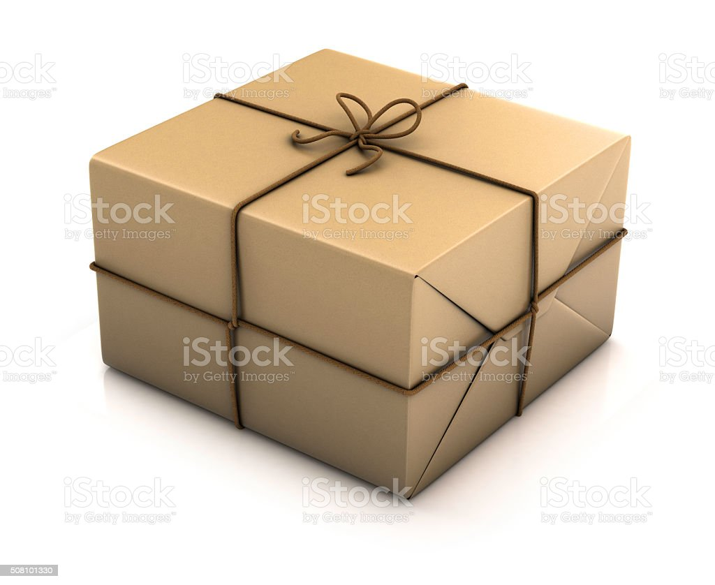 Paper parcel tied with twine stock photo