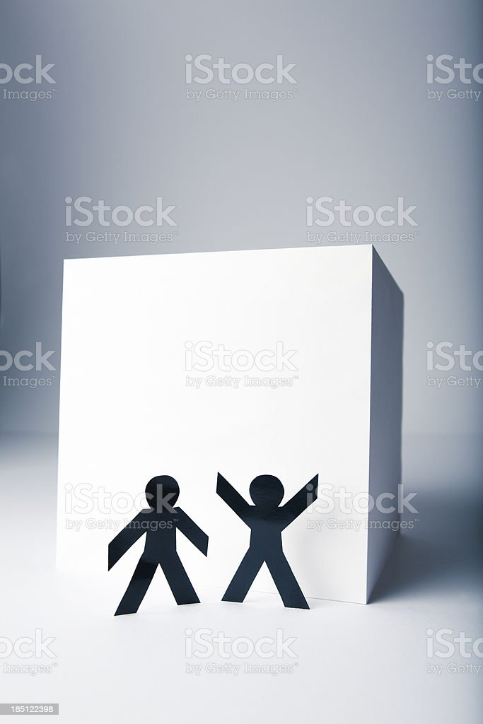 Paper people concept - brainstorming to reach the top stock photo