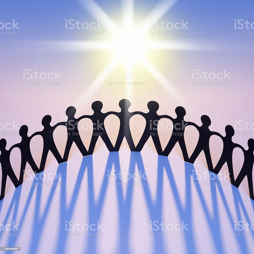 Paper People Joining in Equality As Union, Family, Team, Network stock photo