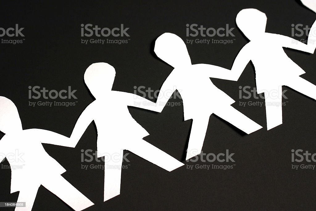 Paper People on Black royalty-free stock photo