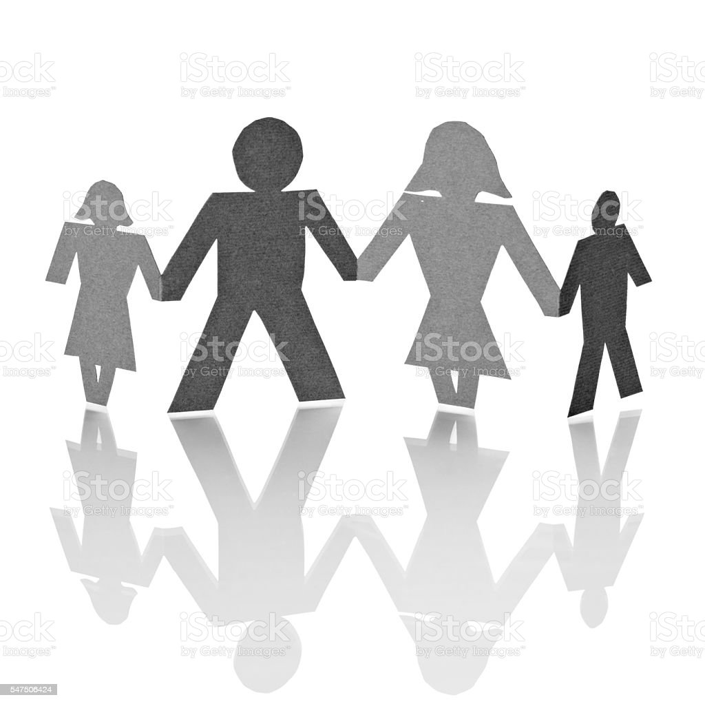 paper people shape cut connection chain stock photo