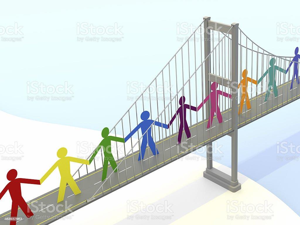 Paper People, Suspension Bridge Walkways royalty-free stock photo