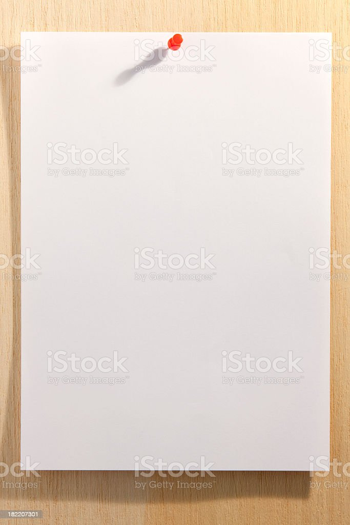 Paper pinned to a wooden pin board. royalty-free stock photo