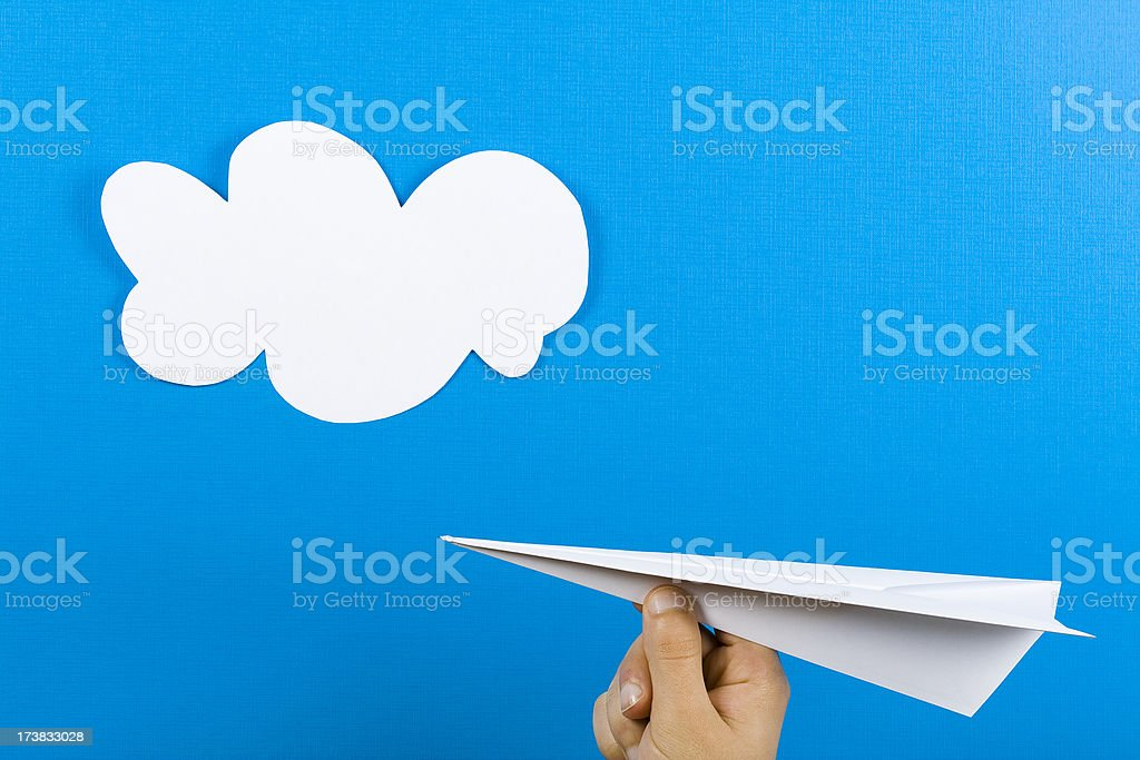 Paper plane and sky royalty-free stock photo