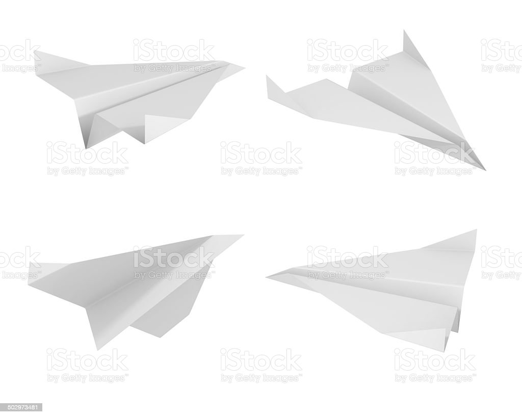 paper plane from different views stock photo
