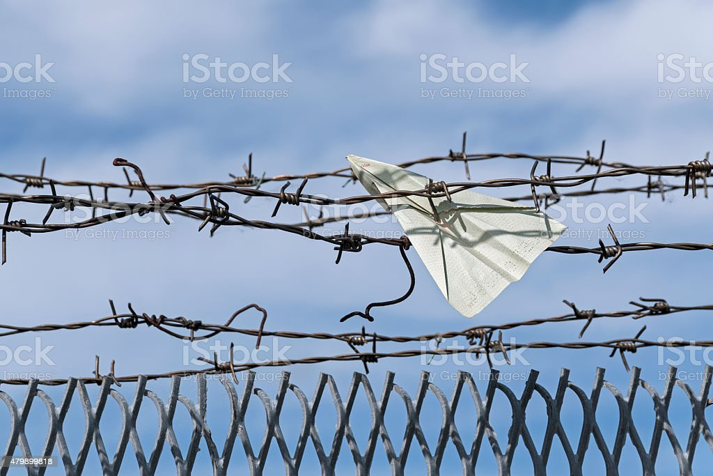 paper plane gets stuck in barbed wire stock photo