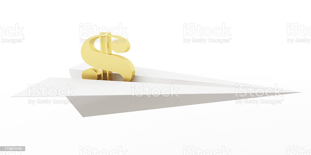 3D Paper Plane with $ Sign royalty-free stock photo