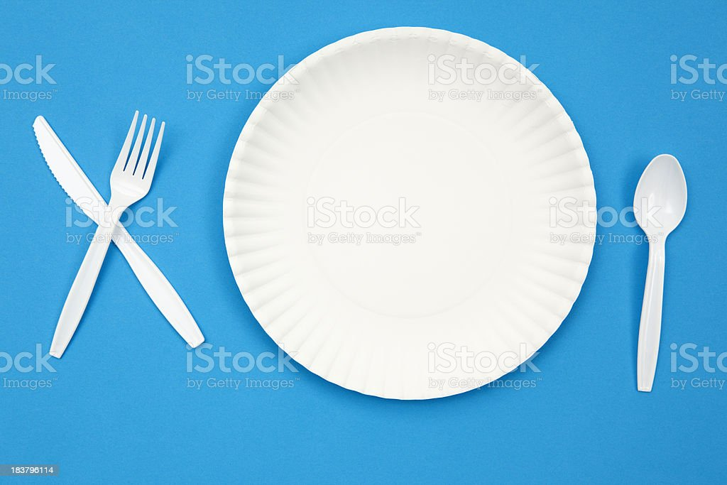 Paper Plate and Plastic Eating Utensils stock photo
