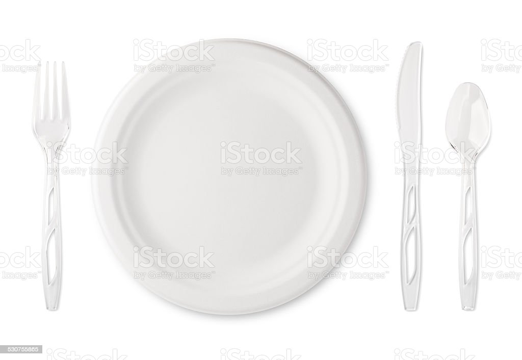 Paper Plate with Plastic Utensils stock photo