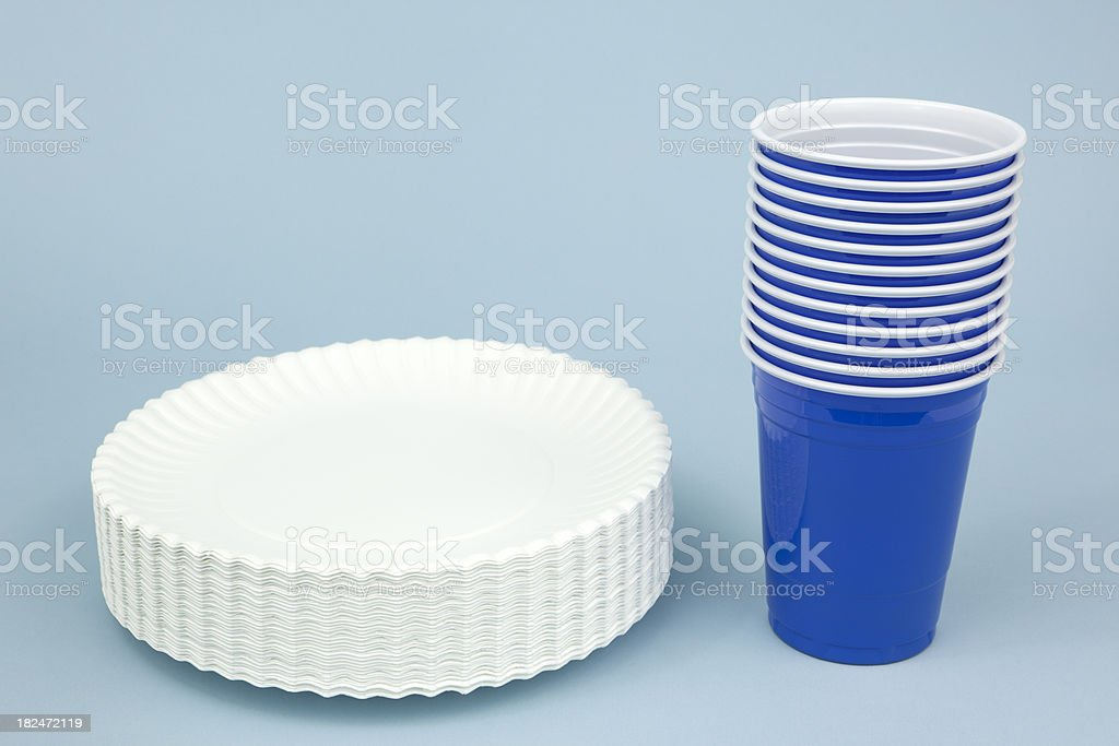 Paper Plates and Cups on Blue stock photo