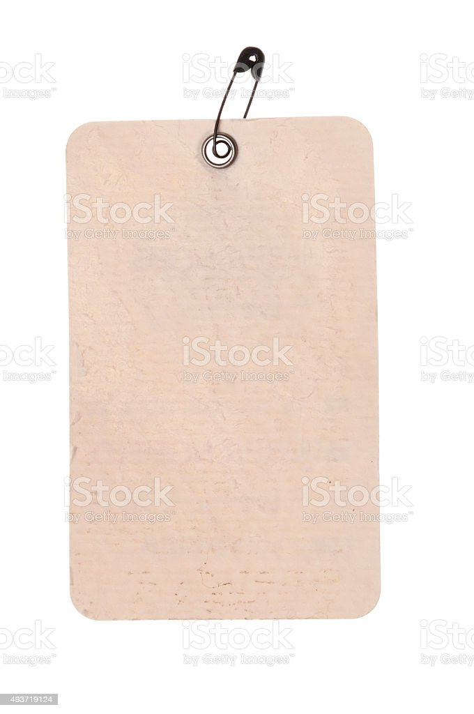 Paper price tag with safety pin stock photo