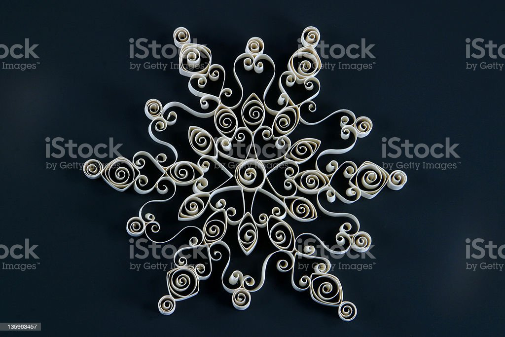 Paper Quilled 12 Point Snowflake royalty-free stock photo