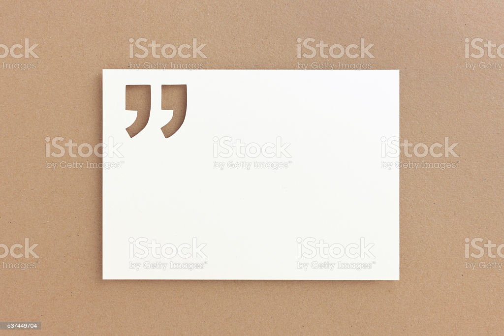 Paper quote background with quotation marks stock photo