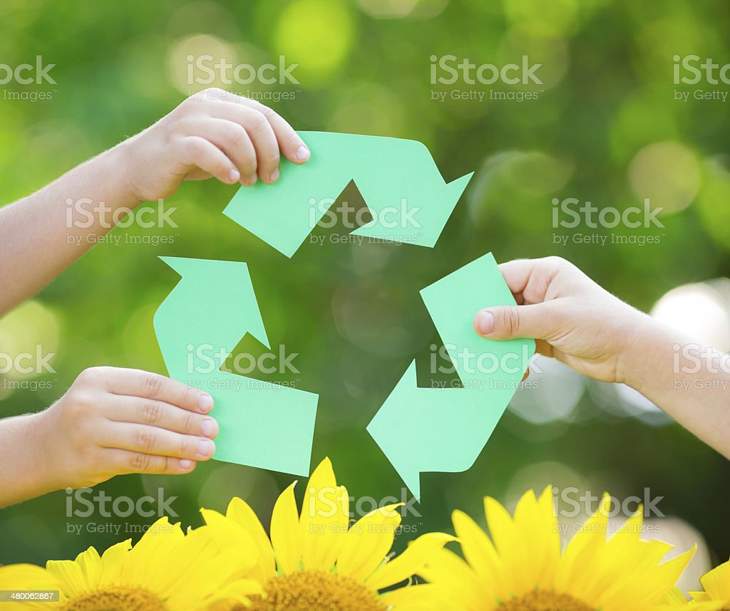 Paper RECYCLE sign stock photo