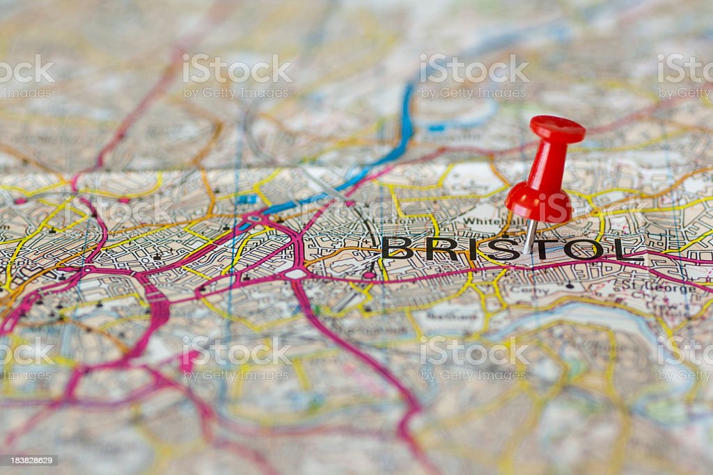 Paper road map with thumbtack marking Bristol stock photo