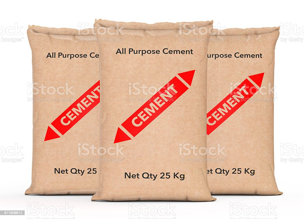 Paper Sacks Cement Bags. 3d Rendering stock photo