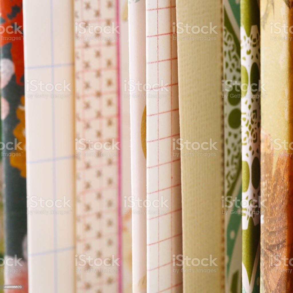 Paper samples with different patterns and colours stock photo