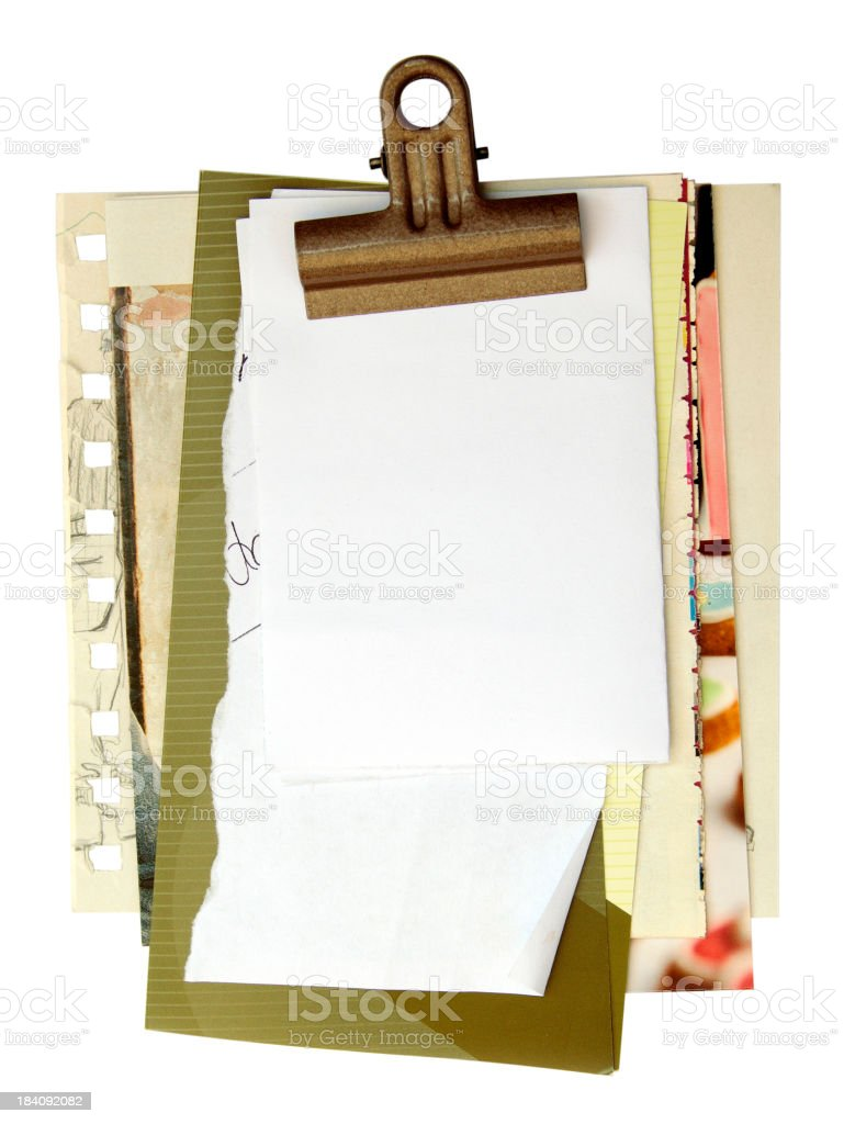 Paper scraps with clip stock photo