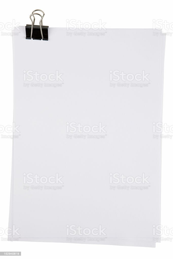 paper sheets binder clip stock photo