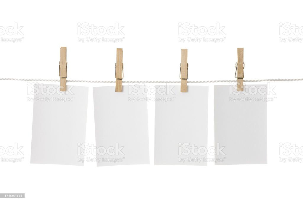 Paper sheets on a clothes line stock photo