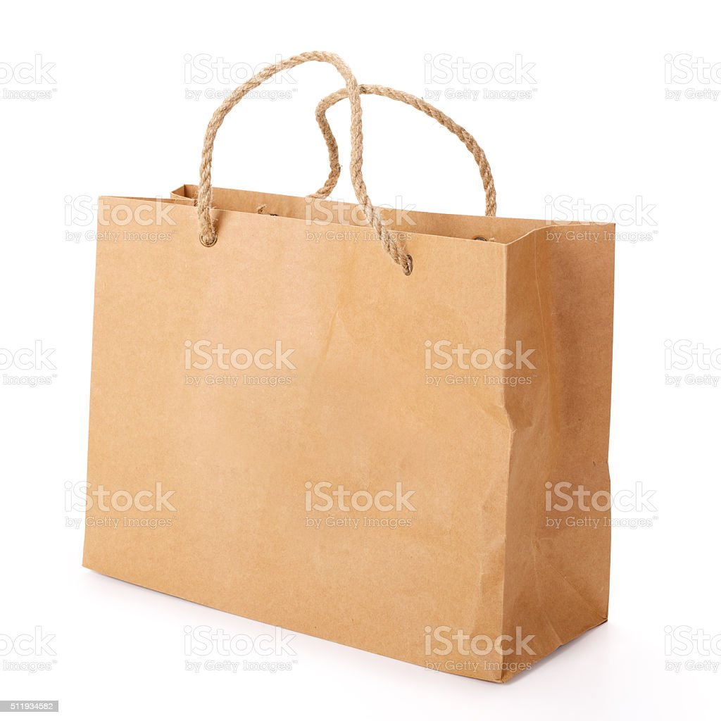 Paper Shopping Bag. Contains Clipping Path. stock photo