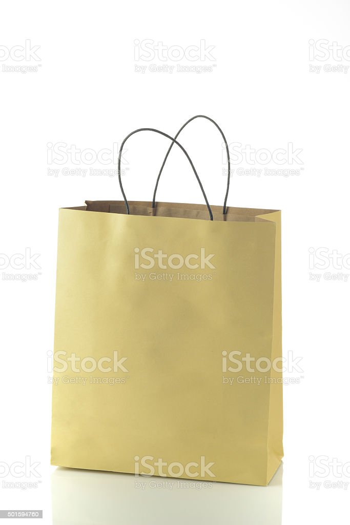 Paper Shopping Bag Isolated on White Background stock photo